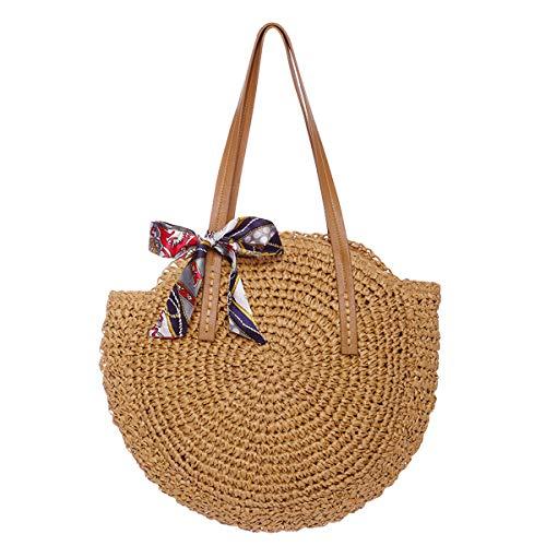 Women Round Straw Bag Large Summer Beach Straw Tote Bag Woven Purse Handle Shoulder Bag for Women Vocation Handbags