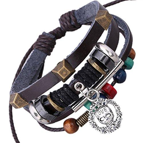 SumBonum Jewelry Womens Genuine Leather Surfer Wrap Bracelet, Vintage Wood Beads Love Rivet Cuff Charm Bracelet, Adjustable Fits 7 Inch-12 Inch, Black Brwon Silver