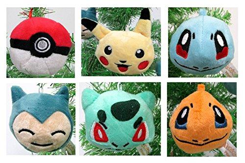 (POKEMON 6 Piece Plush Holiday Christmas Ornament Set - Around 2