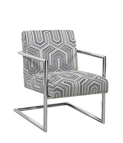 Scott Living Accent Chair in Grey & Blue Jacquard (Chair Blue Upholstery)
