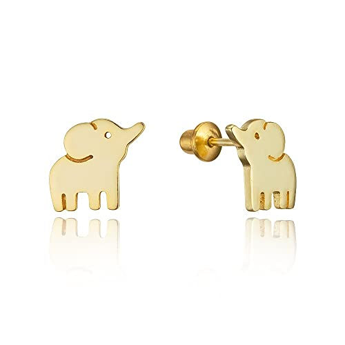 Amazon 14k gold plated brass baby elephant screwback baby girls 14k gold plated brass baby elephant screwback baby girls earrings with sterling silver post freerunsca Images