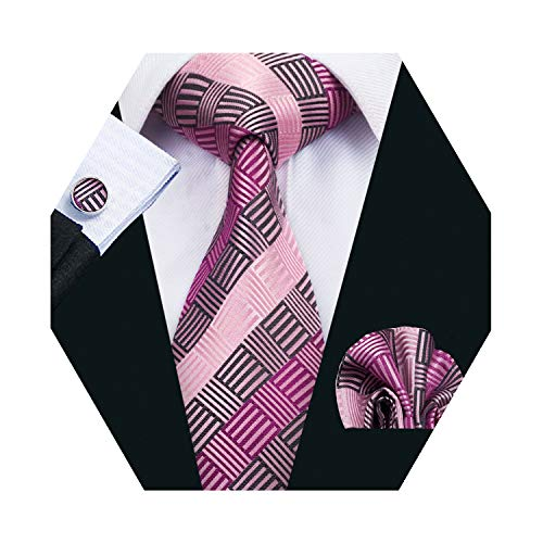 Mens Pink Plaid Tie Set Silk Necktie with Hanky and Cufflinks for Wedding Business