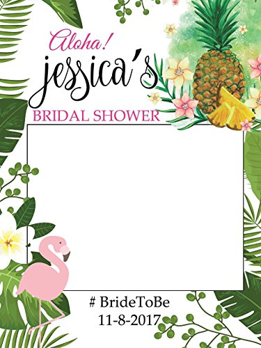 Custom Tropical Bridal Shower Photo Booth Frame - Sizes 36x24, 48x36; Personalized pineapple , flamingo Bridal Shower Decorations, floral Wedding photo booth, Handmade Party Supply Photo Booth Props from speedyorders