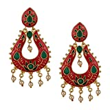 Efulgenz Indian Bollywood 14K Gold Plated Crystal Kundan Pearl Wedding Jhumka Jhumki Chandbali Earrings Jewelry Set