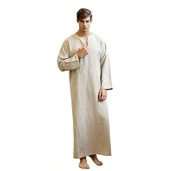 adb1c211564 7 VEILS Men s Linen Robe Casual Kaftan Cotton Thobe V Neck Long Gown Side  with Pockets Caftan
