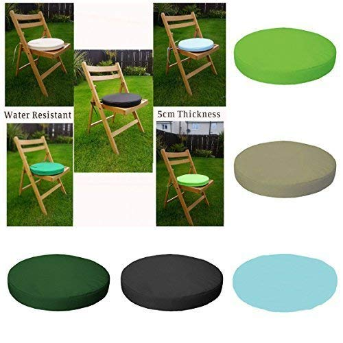 Garden Mile® Outdoor/Indoor Waterproof Chair And Patio Furniture Padded Cushion ONLY Garden Furniture Pad Round (38cm, Black)