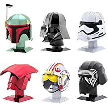 Fascinations Metal Earth 3D Metal Model Kits Star Wars Helmet Set of 6 - Darth Vader - Boba Fett - First Order Stormtrooper - Luke Skywalker Rebel Pilot - Kylo Ren - Elite Praetorian Guard