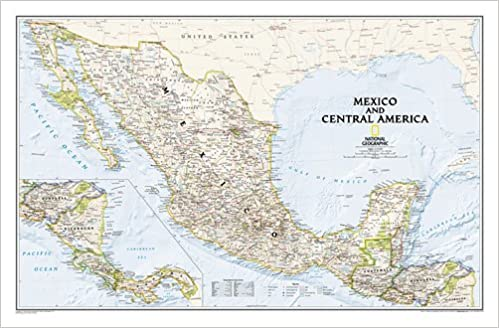 Mexico And Central America Wall Map Laminated Reference - Map of mexico and central america