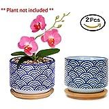 Flowerpot+Wooden Pot Tray Japanese Style Wave Pattern Ceramic Garden Pots Succulent Planter Blue White Flower Po (2-PCS, Wave Blue)