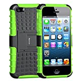 Korecase Apple iPhone 5/5S/SE Case,Armor Heavy Duty Rugged Dual Layer Hybrid Shockproof Case Protective Cover for Apple iPhone 5 5S SE with Built-in Kickstand (Green)