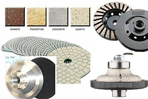 3/4'' Ogee Bullnose Diamond Router Bit Profiler Granite 15 Pieces Polishing Pad Buffer 4 Inch Grinding Cup Wheel aluminum backer Concrete Marble Travertine Quartz Countertops edge fabrication