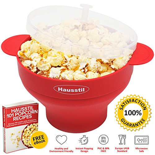 Microwave Air Popcorn Popper - Silicone Popcorn Maker Bowl for Home - Free of PVC & BPA - Healthy Instant Kernels Popping - Save on Popcorn Machine and - Collapsible Chefn