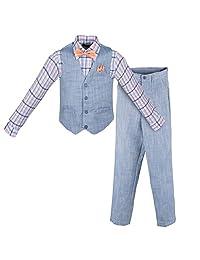 Vittorino Boy's Linen Look 4 Piece Suit Set with Vest Pants Shirt and Tie