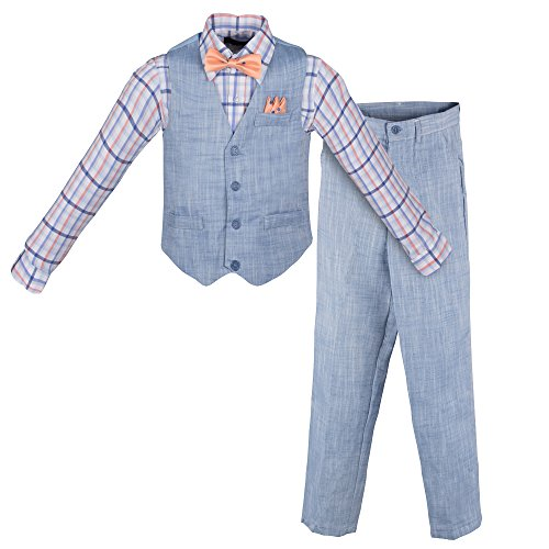 Vittorino Boy's Linen Look 4 Piece Suit Set With Vest Pants Shirt and Tie, Light Blue - Peach, 8