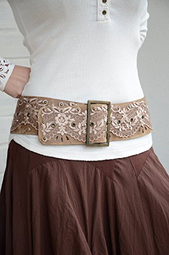 Wide hip brown leather belt for women 3,15'' width by LaLaBelt