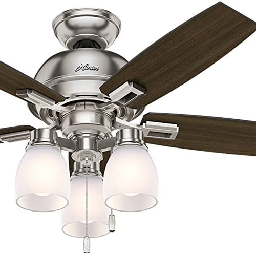 Hunter Fan 44 inch Casual Ceiling Fan in Brushed Nickel with LED Lights Renewed
