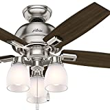 Cheap Hunter Fan 44 inch Casual Ceiling Fan in Brushed Nickel with LED Lights (Certified Refurbished)