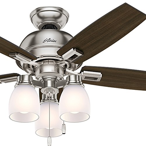 Hunter Fan 44 inch Casual Ceiling Fan in Brushed Nickel with LED Lights (Certified Refurbished)