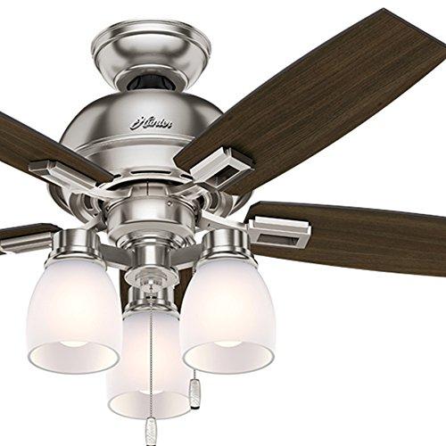 Hunter Fan 44 inch Casual Ceiling Fan in Brushed Nickel with LED Lights Renewed
