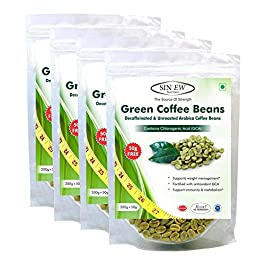 Sinew Nutrition Green Coffee Beans 800g + 200g FREE (250g x 4 PC) for Weight Loss, Green Coffee