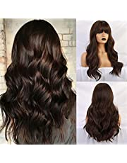 Esmee Long Brown Color Synthetic Natural Wave Wigs with Neat Bangs for White/Black Women Party Wear.