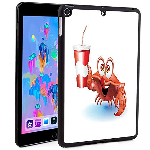(iPad Mini Case 5 Generation,Thirsty Marine Animal with Drink on a Paper Cup with Straw Summertime Theme Print 2019 New iPad Mini 5 7.9
