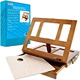 U.S. Art Supply Walnut Solana Adjustable Wood Desk Table Easel with Storage Drawer