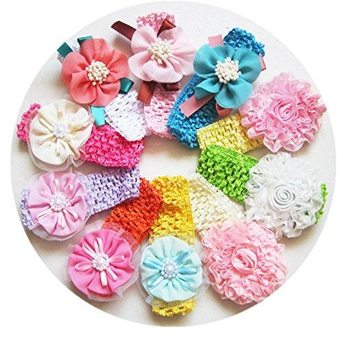 Crochet Baby Headband - Ezerbery 10 pcs Baby Girls Headbands Soft Stretchy Crochet Hair Bands Elastic Hair Hoops Beautiful Elastic Hairband for Newborn Toddler