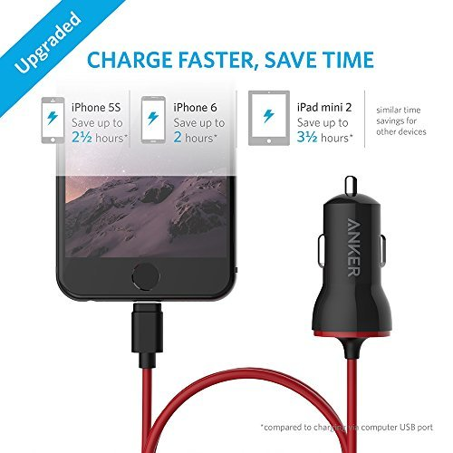 Anker 12W USB Car Charger, PowerDrive with Apple MFi-Certified Lightning Cable for iPhone XS/XS Max/XR/X/8/7/6/Plus, iPad Pro/Air 2/mini and More