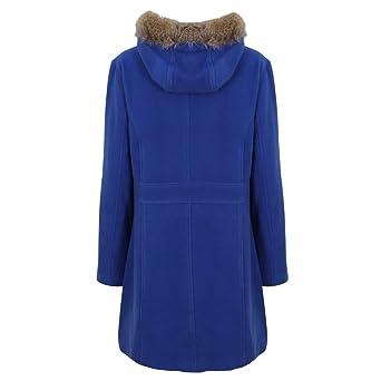 7ff3f7737574c Paramount Fur Hood PU Clasp Duffle Coat Plus Size  Amazon.co.uk  Clothing