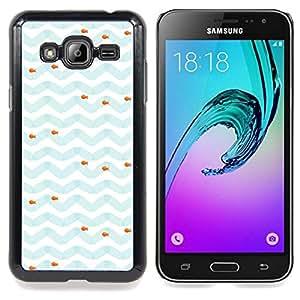Stuss Case / Funda Carcasa protectora - Modelo azul blanco Sea Fish - Samsung Galaxy J3 GSM-J300
