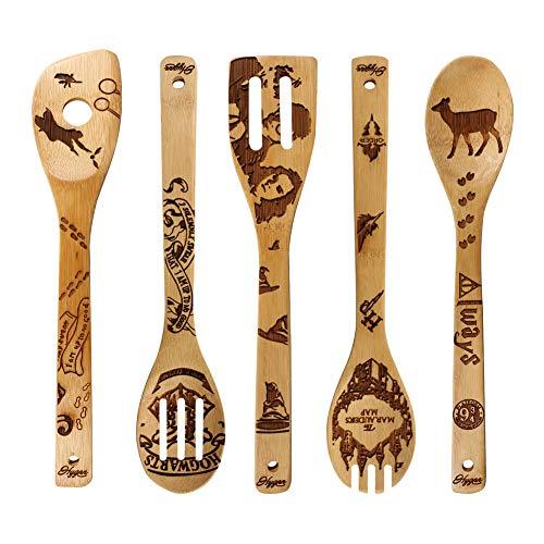 Burned Wooden Spoons Kitchen Decration Christmas Gift Birthday Idea Utensil Set Magic Castle Present Spoons 5 Piece
