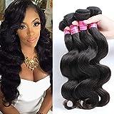 Suitable Hair Brazilian Virgin Hair 3 Bundles Body Wave Weft 8A Unprocessed Human Hair Weave Extensions Natural Color 3pcs (12 14 16)