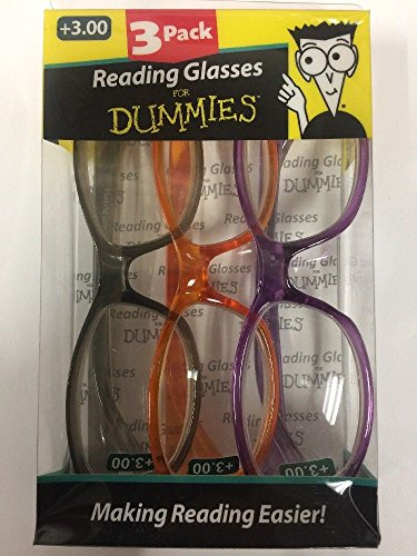 3 Pack Reading Glasses For Dummies Choose Strength and Color New (3.00, gray orange - Glasses Dummy