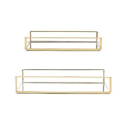 Bandeja de almacenamiento de cristal con borde dorado vintage para joyería, placa decorativa para escritorio