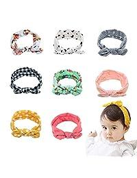 Tinnyfy Headband Girl Cute Baby Rabbit Ear Hair Bands Soft Cotton Headband Newborn Womens Yoga Beach Head Wrap (8Pcs)