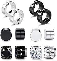 Adramata 6 Pairs Stainless Steel Magnetic Stud Earrings for Men Women Clip On Hoop Huggie Non-Pierced Earrings