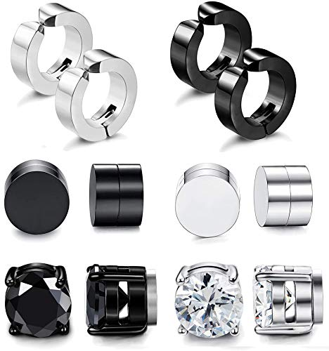 Adramata 6 Pairs Stainless Steel Magnetic Stud Earrings for Men Women Clip On Hoop Huggie Non-Pierced Earrings Set