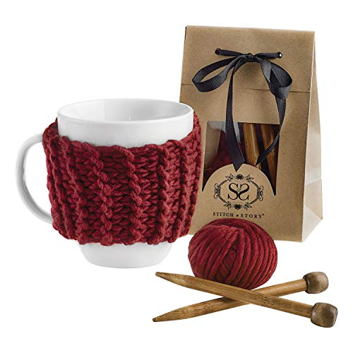 STITCH & STORY Cup Cozy Knitting Kit – Make Your Own Tea Coffee Cup Cosy 100% Merino Wool Yarn Knitting Needles Pattern
