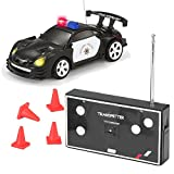 JOYIN RC Remote Radio Control Mini Micro Racing Police Car Pocket Race Car Toy with LED Light and Siren Sound