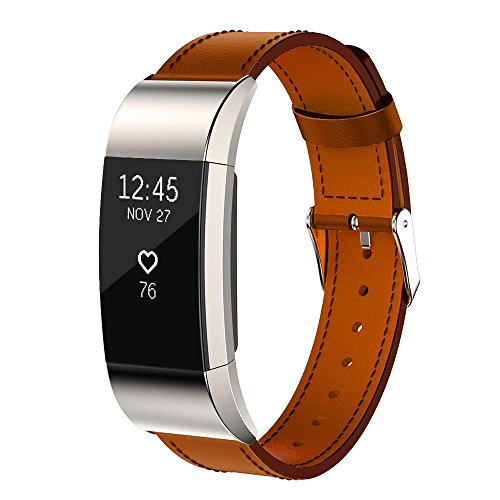 [Unisex Replacement Luxury Genuine Leather Band Strap, Ninasill Exclusive Bracelet For Fitbit Charge 2 (Brown)] (Leather Genuine Chronograph)