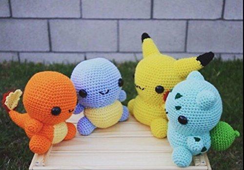 Pokemon, Crochet Set Pikachu, Squirtle, Bulbasaur, Charmander, Crochet Pokemon, Handmade, Present, Gift, MADE TO ORDER by Love2Bees