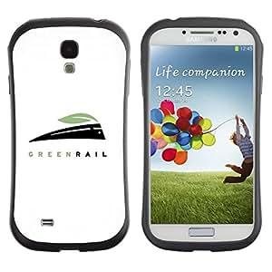 Fuerte Suave TPU GEL Caso Carcasa de Protección Funda para Samsung Galaxy S4 I9500 / Business Style green rail