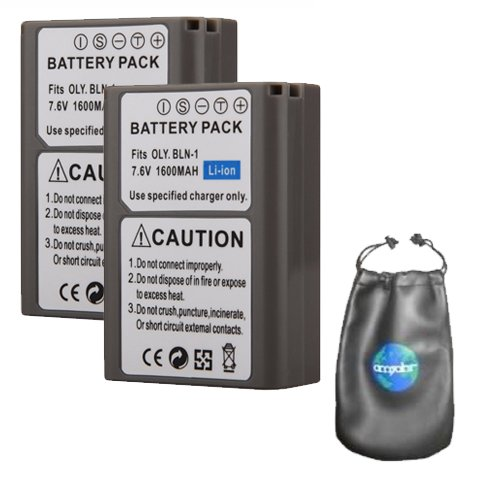 ValuePack (2 Count): Digital Replacement Camera and Camcorder Battery for Olympus BLM-1, CAMEDIA C-5060 - Includes Lens Pouch