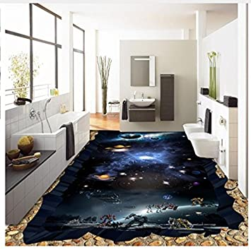 Wallpaper Floor Pvc Mural Cosmic Earth Flooring Thickened Waterproof Home Decoration Bathroom Bedroom 400x280cm