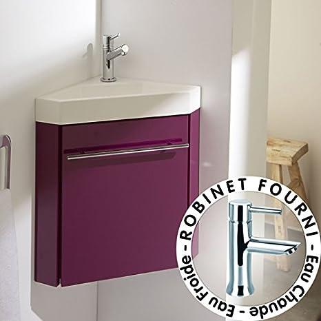 PlaneteBain Lave-Mains d\'angle Complet avec Meuble Design Couleur ...