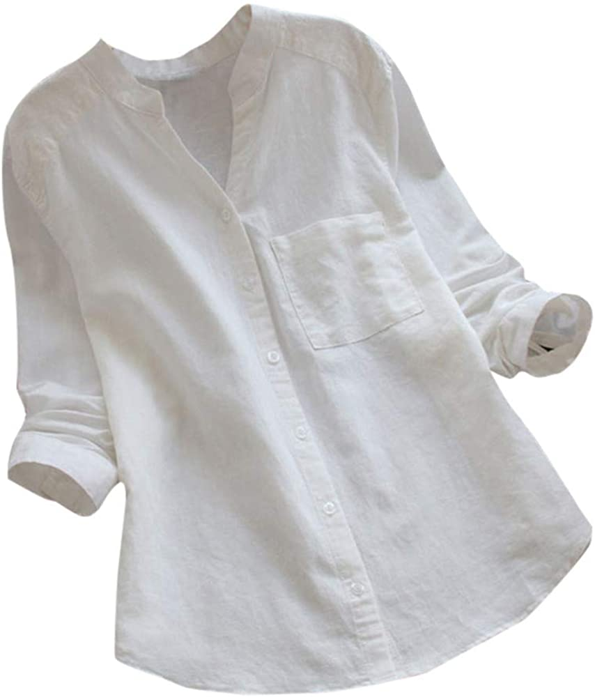 F/_Gotal Womens Stand Collar Long Sleeve Casual Loose Henley Tunic Tops T Shirt Blouse Cotton Linen Shirts for Women