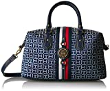 Tommy Hilfiger Handbag for Women Jaden Satchel, Navy/White