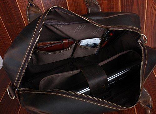 Tiding Men's Brown Leather Retro Briefcase Laptop Sleeve Shoulder Bag 10192