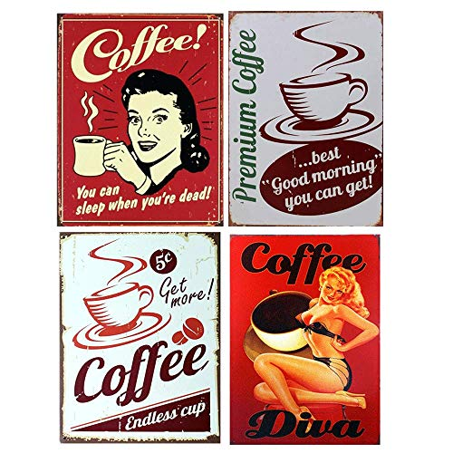 (Funny Sign Tin Art Wall Decor, Vintage Aluminum Retro Metal Sign, Iron Painting Vintage Decorative Signs, Coffe Wall Decoration, You Can Sleep When You're Dead 4 PCS)